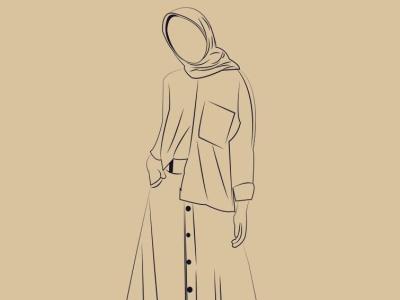 Line Art Muslimah graphic design illustration lineart