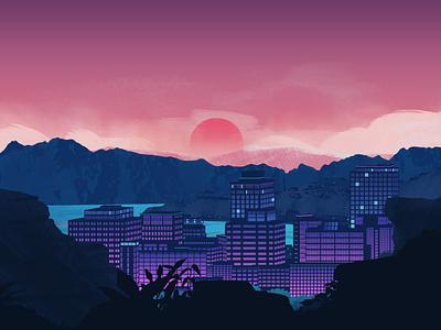 Sunset in Wellington, NZ illustration design sunset wellington new zealand city vector illustration vector mountains