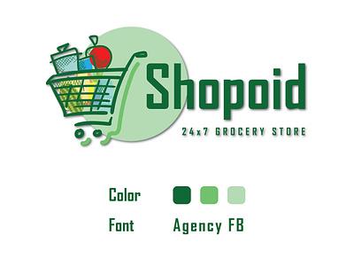 Shopoid - Online Grocery design icon logo branding