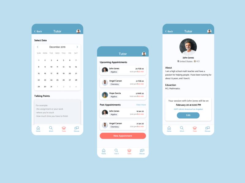 Tutoring App tutor appointment calendar scheduling mobile ux ui