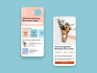 Skill Workshops Platform Concept color concept product design ui uiuxdesign uidesign ui  ux