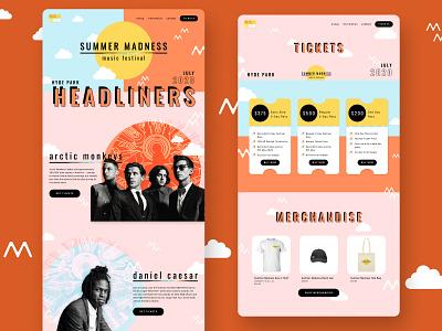 Music Festival Website Concept webdesign website design music color uiux design concept uiuxdesign ui uidesign