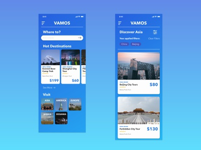Vamos - Travel App Concept adventure travel app travel uiux design concept uiuxdesign uidesign