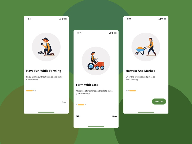 Onboarding screens for a farm application design farmers farm application farming onboarding screens