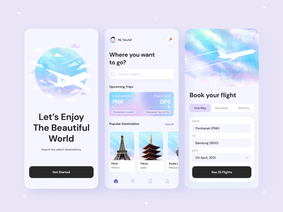 Flight Booking App UI Design uiux webdesign landingpage ui mobile ui mobile design uidesign mobile app mobile app design design