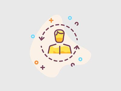 Person - team member colorful icon illustration icon design membership member team cto chef ceo manager managment personal persona person man