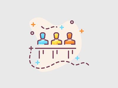 Team managment of company illustration teams briefing brief presentation speech speak resume cv teamwork corporation corpo company managment team