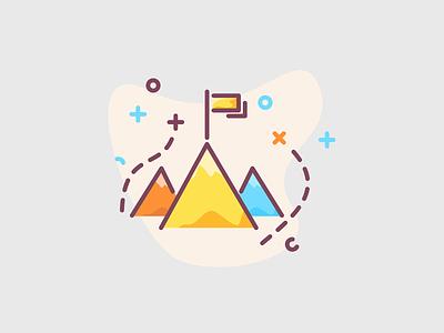 Mountains icon illustration museum reach reach goal achievements achievement achieve goal mount mountains mountain