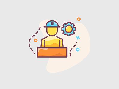 Engineer worker illustration energy gears gear manage manager worker work engineer