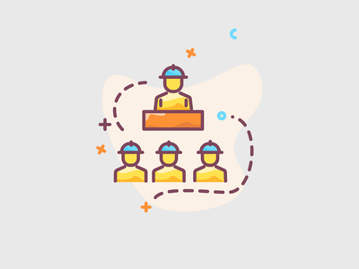Manager and workers team essential icons icon pack flat icons roicons icon design illustration managers work woman meeting meet team workers worker manager