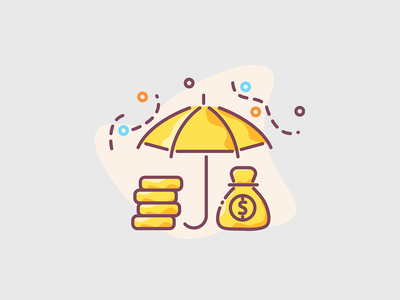 Umbrella with golden coins and money bag - saving concept illustration save the date bar golden coins earn earnings savings gold bars gold bar golden bars golden bar coins coin protect capital protect umbrella saves save saving saving money