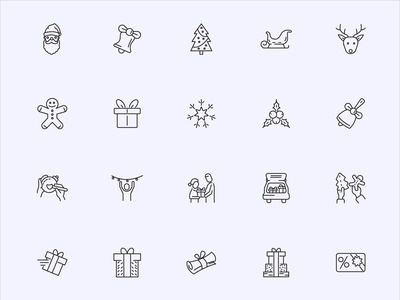 Roicons - Christmas line icon set