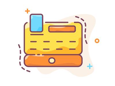 Cash register colorful icon