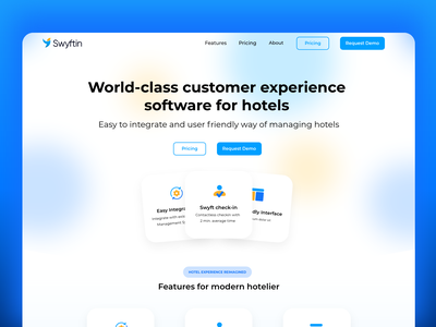 Swyftin hotel booking software website design hotel software hotels website landing page ux vector uidesign ui design