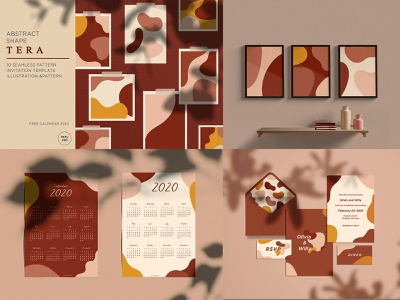 Abstrack Shape TERA tera aesthetic shape flat wall art pattern branding typography icon design illustration