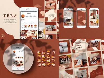 TERA Instagram Pack flat highlight instagram stories instagram template instagram post instagram shape tera pattern illustration design branding aesthetic