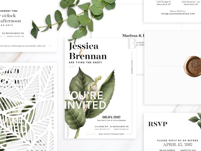 Wedding Stationery Package typography serif white invitation print design greenery floral wedding