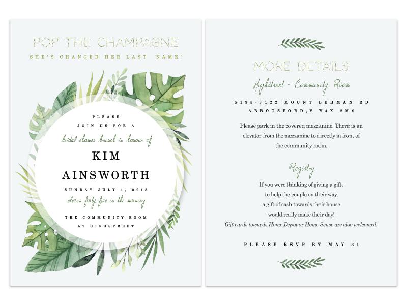 bridal shower invitation watercolor tropical serif greenery floral print invitation print design wedding shower bride wedding