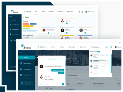 UX/UI: Intranet dashboard search filters events team notification chat interface intranet ux web ui design