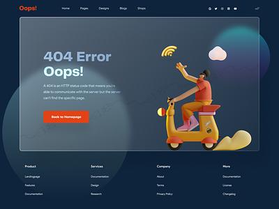 Oops! 404 Error Page   Glassmorphism UI color 3d wifi design homepage 404 404page 404 error page glass colour ui  ux typography header design minimal uidesign uxdesign website design landing page glass effect glassmorphism