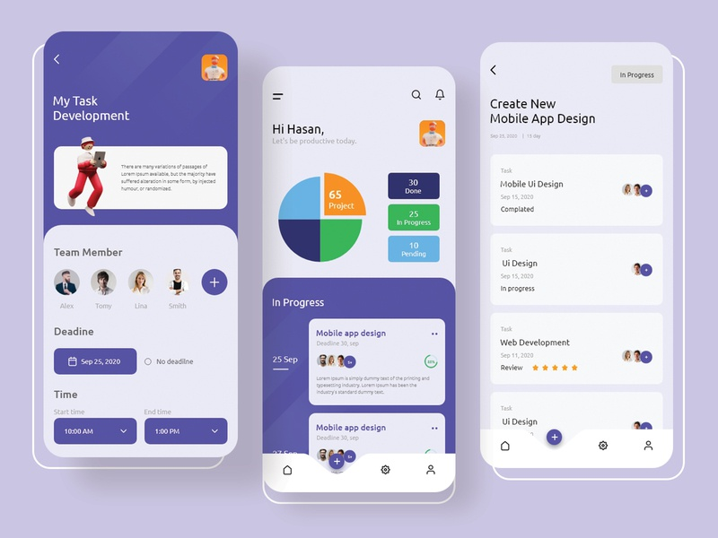 Tasmok - Task Management App 2020 trend illustration typography task manager task management minimalist ios app design clean uidesign uiux ui ux task app task details mobile ui mobile app design agency mobile app design best dribbble shot app design app