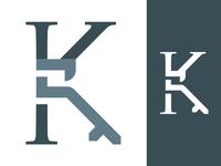K / Key Logo Icon lettermark wordmark corporate vector branding minimal lock classic law icon logo monogram logo typography serif monogram letter key