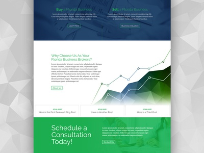 Business Broker Website Preview raleway page landing website web graph green blue corporate business