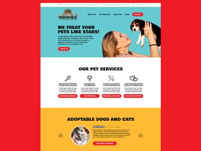Pet Store Website Concept animal shop adopt shelter cat website web cute colorful dog pet