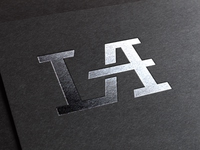 LA Logo initials connect letters stylized monogram typography custom logo la a l