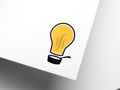 Catering Company Logo icon symbol logo black yellow food catering chef idea cook lightbulb