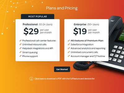 UI Pricing Comparison ui clean modern corporate orange gradient price table compare comparison pricing chart