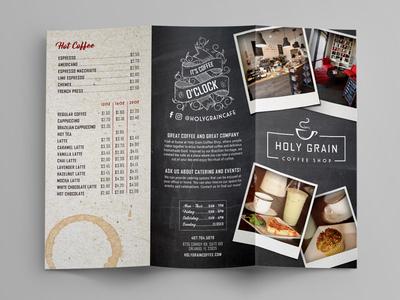 Coffee Shop Brochure print kraft retro script polaroid typography chalk trifold brochure shop cafe coffee