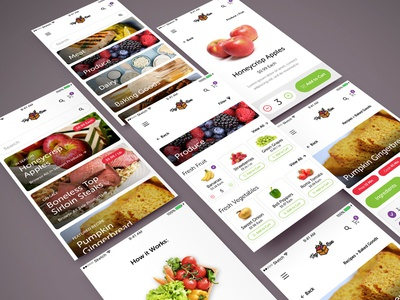 Fresh Produce Delivery App Concept vegetable green delivery food grocery ux user interface minimal sketch ios app ui