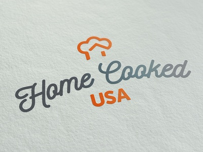 Home Cooking Company Logo negative space icon orange hat branding logo cooking food chef home