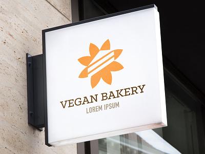 Vegan Bakery Logo sustainable gluten brand identity slab serif eat food healthy food orange flower pie cake dessert retail corporate branding healthy health vegetarian vegan logo