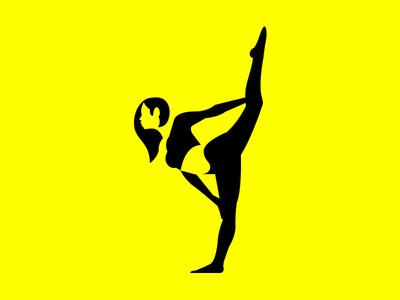 Fitness Supplement Logo Mark whitespace space branding girl female woman stretch yoga pose yoga minimal health logo negative supplement fitness