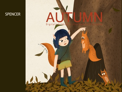 The little girl with the fox in autumn illustration procreate art ipadprocreate ipadart ipadpro iapd digital illustration digital painting digitalart drawing draw artist artwork art design children book illustration autumn children picture book illustration