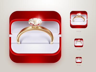 Wedding icon wedding red ring box gold diamond