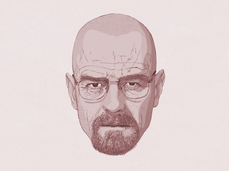 Walter White breaking bad walter white face bryan cranston fan art portrait
