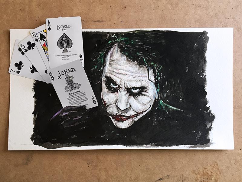 Joker watercolor ink wash the joker interactive illustration