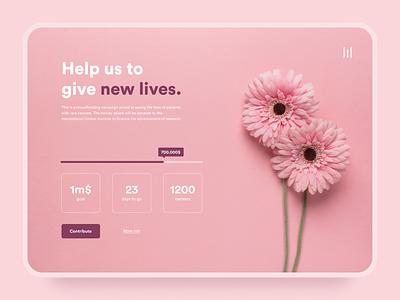 Daily UI #032 | Crowdfunding campaign ui website design desktop flowers flat webdesign pink dailyui 032 crowdfunding campaign crowdfunding daily ui 32 dailyui dailyuichallenge