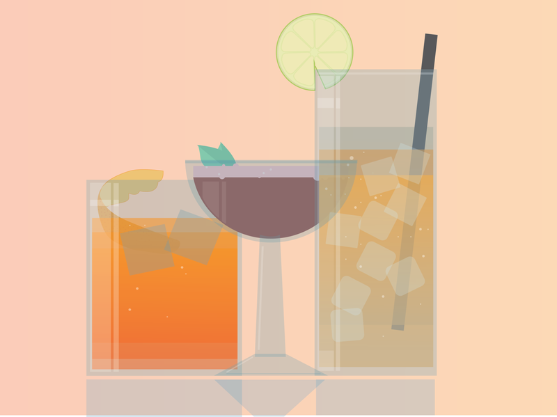 Cocktails for Nylon Magazine illustrator illustraion