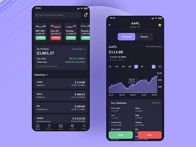 Investment App app design stock app stock investment app investment ui ui design uiux ux