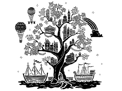 Bright as Crystal new jerusalem balloon rainbow ship river tree house treehouse city glory future party heaven revelation illustration