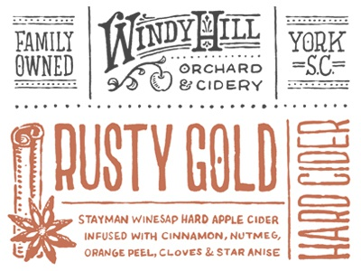 Rusty Gold apple cider south carolina alcohol label hand-type cinnamon anise spices drink beverage juice family