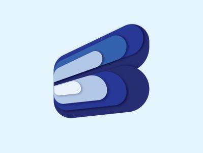 B Logo logo illustration gradient blue