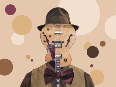 Guitar Man retro bubbles dots old brown collage vest tie bow guitar hat fedora