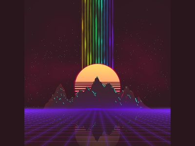 The Grid purple space moon sun mountain rainbow game virtual vintage retro