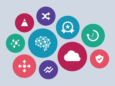 Market Icons clock time award cloud ai mountain minimal vector flat circles bubbles icons