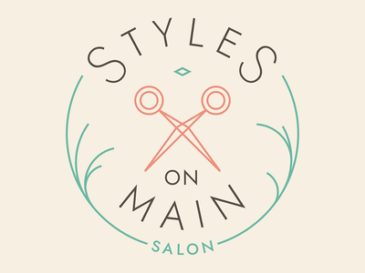 Styles On Main Logo lines strokes flat teal peach circular circle badge logo scissors salon hair